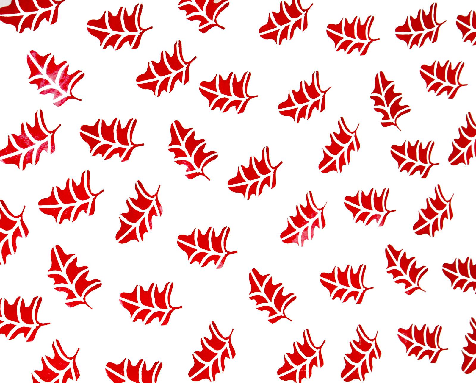 Carta regalo stampata a mano - foglia rossa