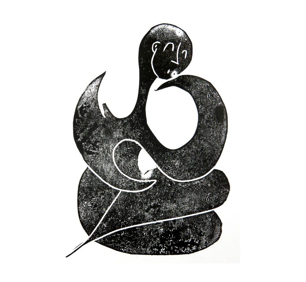 Illustrazioni stampate: donna di pietra