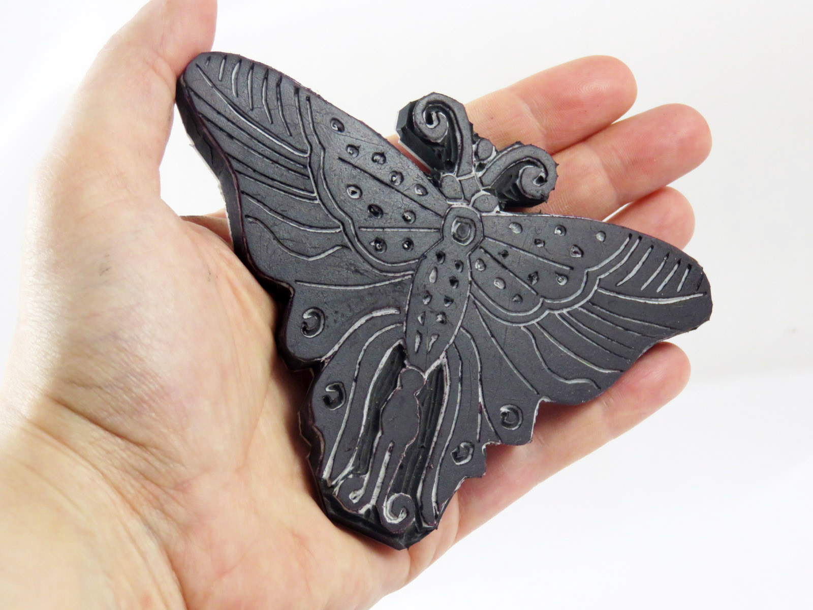 Sacchettino stampato a mano: farfalla + timbro