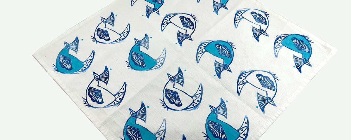 Furoshiki: gallina blu