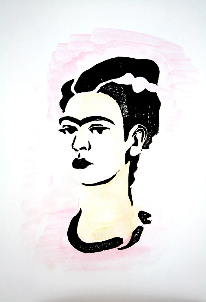 Illustrazioni stampate: Frida in rosa