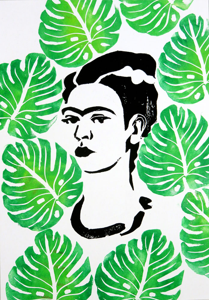 Illustrazioni stampate: Frida in verde